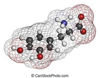 L-DOPA (levodopa) Parkinson's disease drug molecule. Atoms...