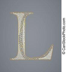 l., dourado, abstratos, letra