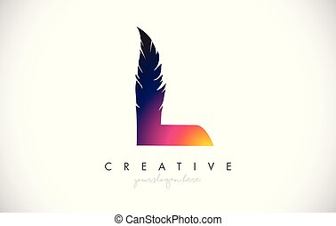 L Feather Letter Logo Icon Design With Feather Feathers Creative Look Vector Illustration