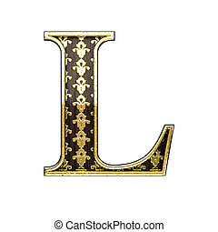 l golden letter 3d illustration