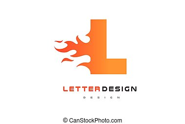 letter l ignition flame logo design concept template fully editable vector