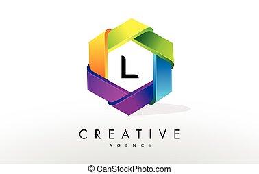 L Letter Logo. Corporate Hexagon Design