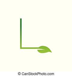 l, logo, blatt, brief, entwerfen elemente