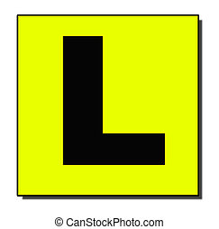 L plate with shadow - A standard Learner Driver plate with...