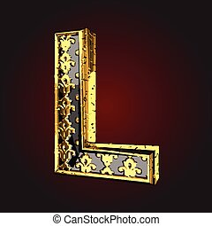l vector black letter with gold
