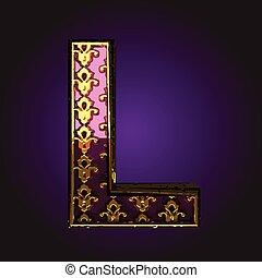 l vector violet letter with gold