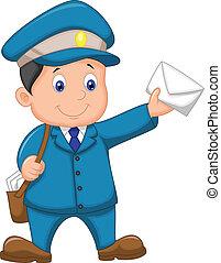 l, zak, vervoerder, post, spotprent