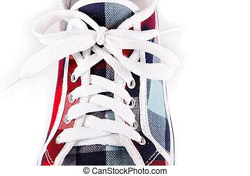 laçage, sur, chaussures sports
