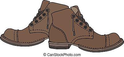 laço, antigas, sapatos