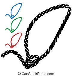 laço, corda, ícone