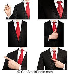 laço, homem negócios, terno vermelho