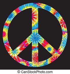 laço, símbolo, paz, tingido