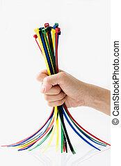 laços, cabo, coloridos, mão