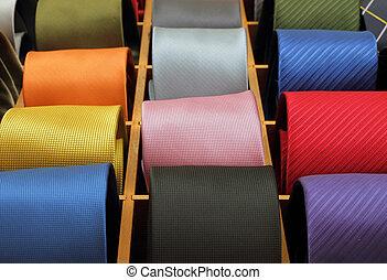 laços, seda, coloridos, pescoço, cobrança