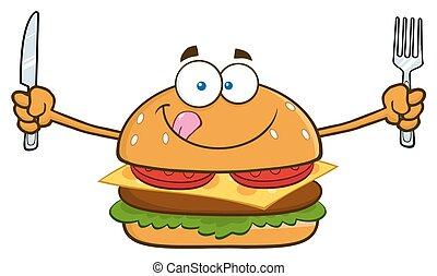 lačný, hamburger, s, knife i kdy vidle