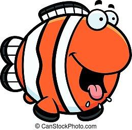lačný, karikatura, clownfish