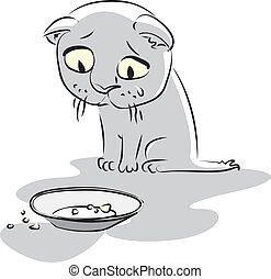 lačný, kitty., vektor, ilustrace