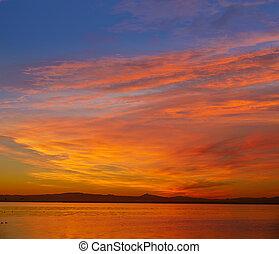 La Albufera lake sunset in El Saler of Valencia