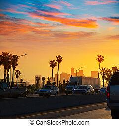 la, angeles, los, contorno, california, tráfico, ocaso