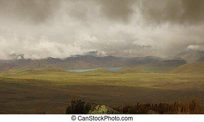 La, antisana, -, nublado, ecológico, mica, laguna, volcán,...