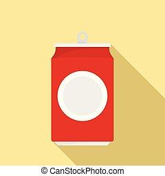 la bebida puede, icono, plano, estilo