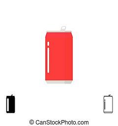 la bebida puede, vector, iconos, conjunto, aislado, blanco, plano de fondo