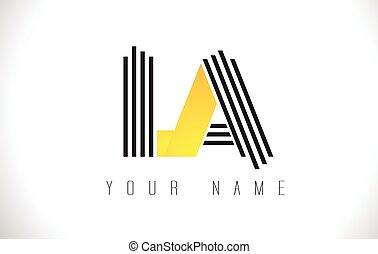 LA Black Lines Letter Logo. Creative Line Letters Vector...