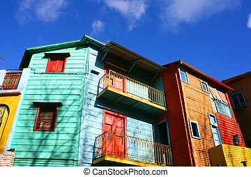 """Historical buildings in the famous Neighborhood of """"La Boca"""" in Buenos Aires, Argentina."""