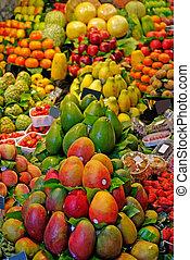 la, boqueria, fruits., värld, berömd, barcelona, marknaden, spain.