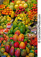 La Boqueria fruits. World famous Barcelona market, Spain.