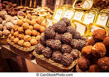 La Boqueria - Dessert shop in La Boqueria, the most famous...