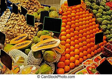 la, boqueria, ror, av, fruits., värld, berömd, barcelona, marknaden, spain.