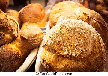 La Boqueria - Fresh bread stall in La Boqueria Market,...