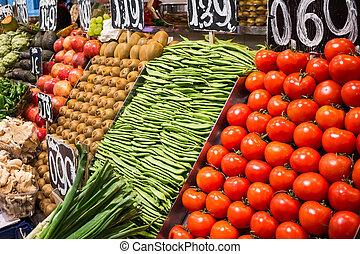 La Boqueria - Fruits and vegetables stall in La Boqueria,...
