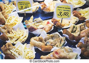 La Boqueria - Fish and chips stall in La Boqueria market,...