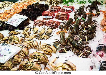La Boqueria - Fresh shellfish stall in La Boqueria,...