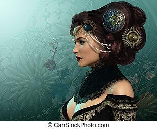 La Brune - 3D computer graphics of a brunette lady with...