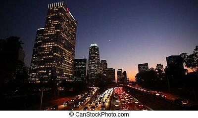 la, centro cidade, tráfego, em, sol