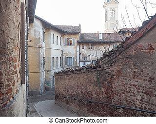 View of La Chiocciola old town in Chieri Italy