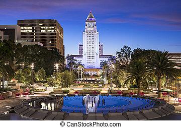 LA City Hall - Los Angeles, California, USA downtown at city...