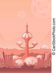 la ciudad, de, futuro, un, espacio, colony., arreglo humano, con, futurista, edificios, en, mars., vector, illustration.