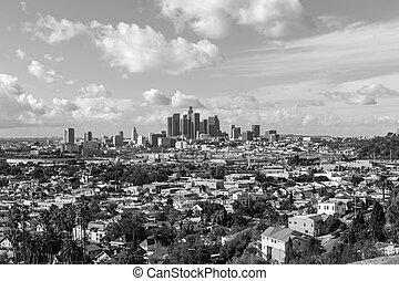 la ciudad, de, los ángeles, negro y blanco
