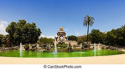 la, ciutadella, cascada, barcelona, parc, fuente, de