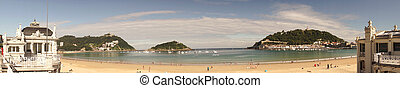 La Concha Beach at San Sebastian, Spain
