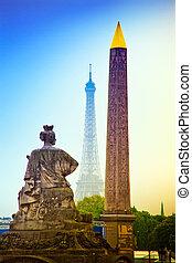 la, concorde., de, 巴黎, france., 地方