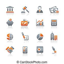 la corporación mercantil & las finanzas, iconos, /, grafito