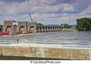 La Crescent Lock and Dam on Mississippi River