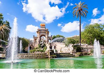la, de, españa, barcelona, parc, fuente, ciutadella