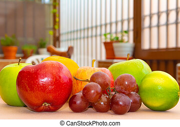 la, de, frutas, sobre, mesa, cerca