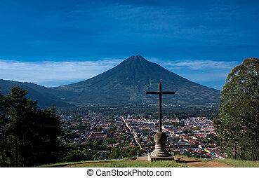 la, de, guatemala, cruz, antigua, cerro